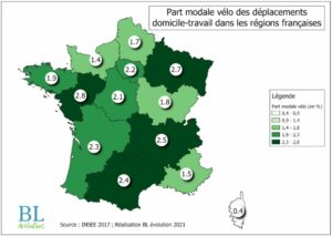 Part modale vélo des déplacements domicile-travail dans les régions françaises