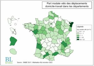 Part modale vélo des déplacements domicile-travail dans les départements